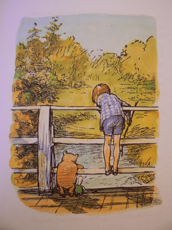 Playing Poohsticks. Illustration by Ernest H Shepard